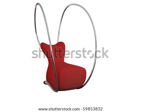 Modern red armchair for relax isolated on white, woman shape, 3d render/illustration - stock photo
