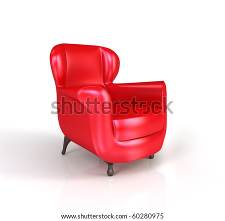 Modern red armchair isolated on white background. 3d render.