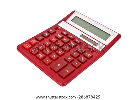 Modern Red Calculator on a White Background - stock photo