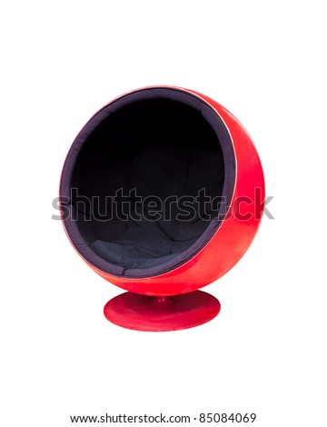 Modern red cocoon ball chair isolated on white background - stock photo