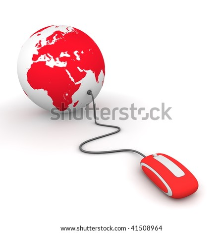 modern red computer mouse connected to a red globe