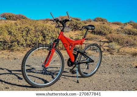 Modern Red Full Suspension Mountain Bike MTB Bicycle
