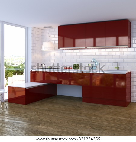 modern red glossy kitchen interior with big window - stock photo