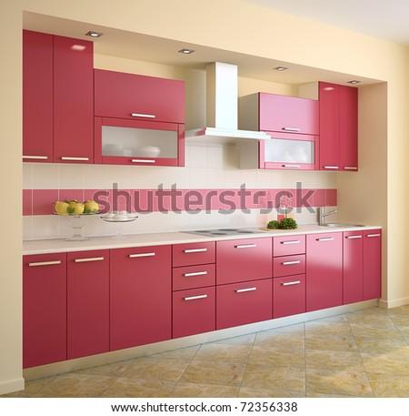 Modern red kitchen. 3d render. - stock photo