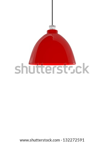 Modern Red Lamp isolated on white - 3d illustration