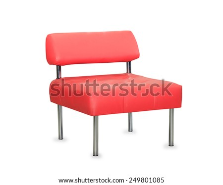 modern red leather chair isolated on white background - stock photo