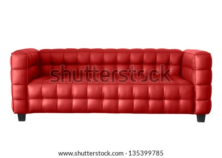 modern red leather sofa isolated on white. - stock photo