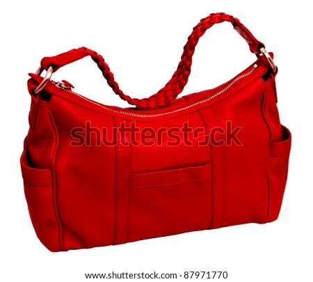 Modern red leather women's handbag on the white background - stock photo