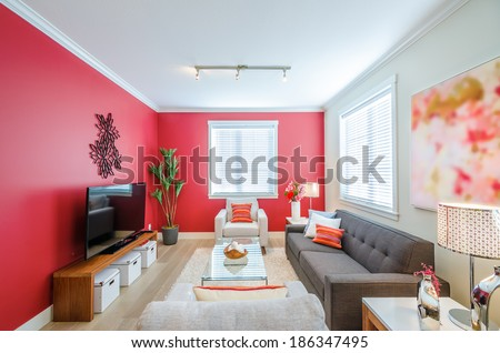 Modern red living room interior design