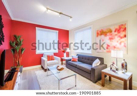 Modern red living room. Interior design. - stock photo