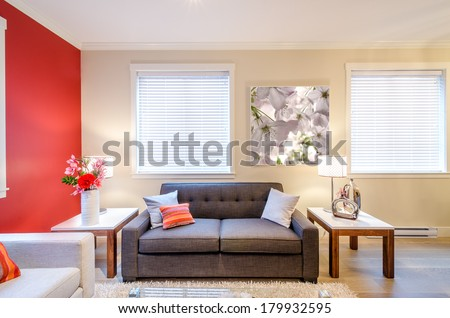 Modern red living room interior design with sofa, armchair, and two side tables  - stock photo