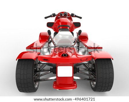 Modern red quad bike - back view closeup shot - 3D Render