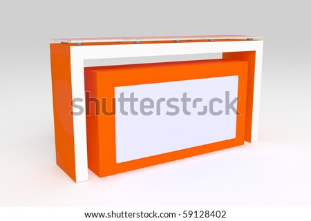 Modern red reception desk - stock photo