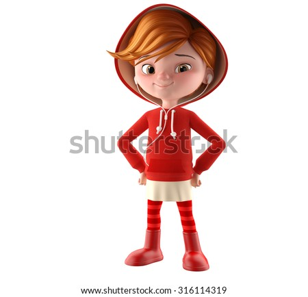 Modern Red Riding Hood, 3D girl in a red sweatshirt, blonde teenager, blank white isolated on white background, smiling, cheerful corporate mascot, baby figure, baby items, clothing - stock photo