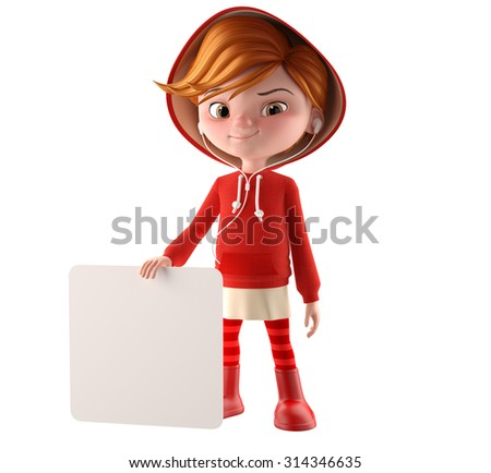 Modern Red Riding Hood, 3D girl in a red sweatshirt, blonde teenager with a sign blank white isolated on white background, smiling, cheerful corporate mascot, baby figure, baby items, clothing - stock photo