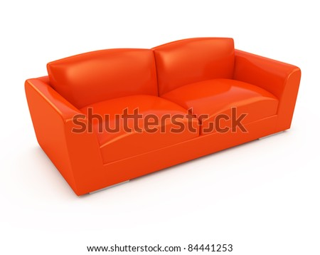 Modern red sofa isolated on white background - stock photo