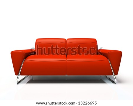 Modern red sofa isolated on white background 3D