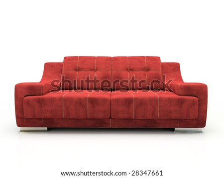 Modern red sofa isolated on white background 3D rendering