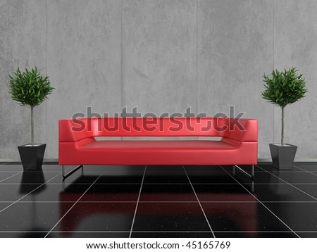 Modern red sofa on a glossy black stone floor, with a plant either side - stock photo