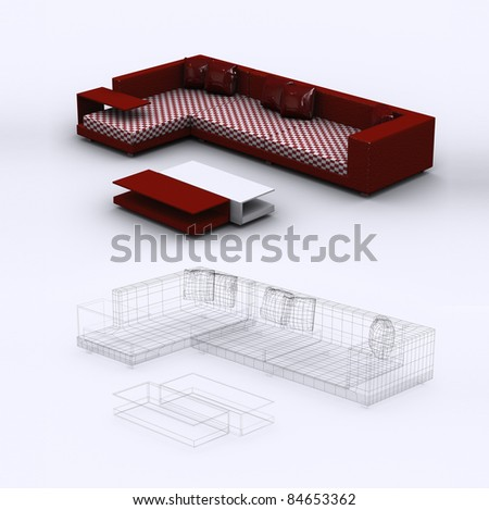 Modern red sofa with pillows - stock photo