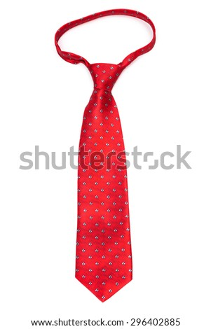 modern red tie on a white background - stock photo