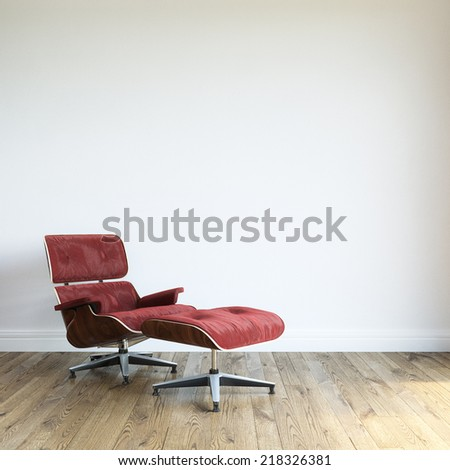 Modern Red Velvet Armchair With Ottoman In White Wall Interior Room 	  - stock photo