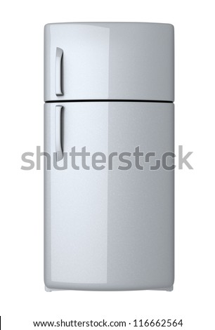 Modern refrigerator - isolated on white background