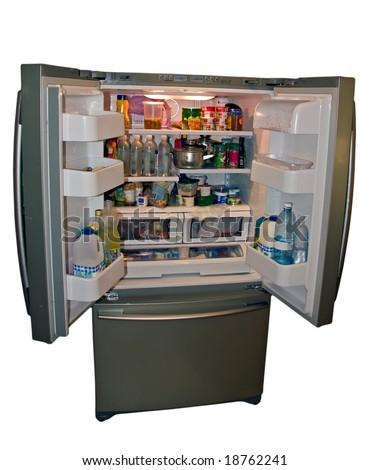 Modern refrigerator with food - stock photo