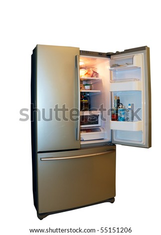 Modern refrigerator with food - stock photo