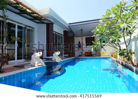 Modern Residence with swimming pool  - stock photo