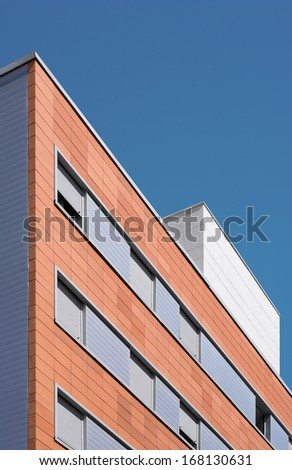 Modern residential building exterior concrete and brick construction
