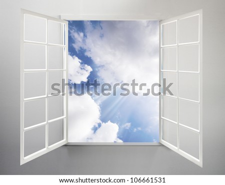Modern residential window open and the clouds - stock photo