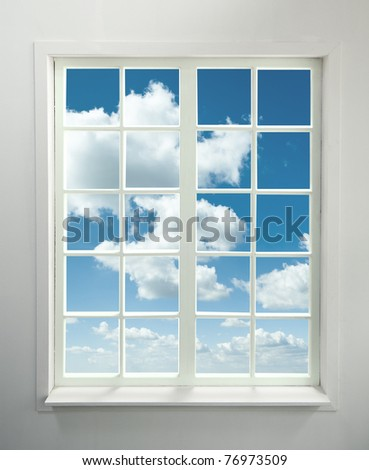 Modern residential window with clouds (includes clipping path) - stock photo