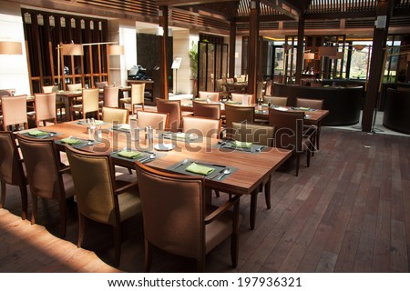 Modern restaurant interior, part of a hotel - stock photo