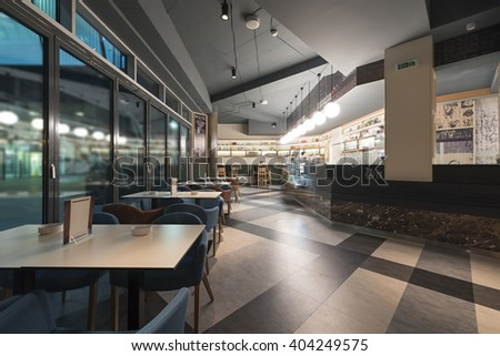 Modern restaurant with new renovated interior