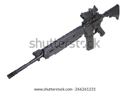 modern rifle isolated on a white background - stock photo