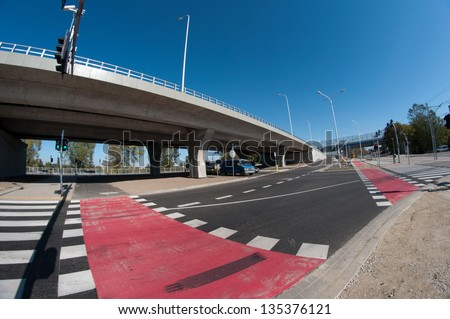 "Modern road intersection on summer in ""Wroclaw"" -fisheye shoot - stock photo"