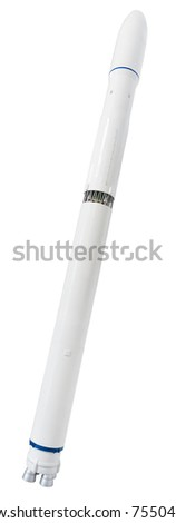 Modern rocket. Clipping path included. - stock photo