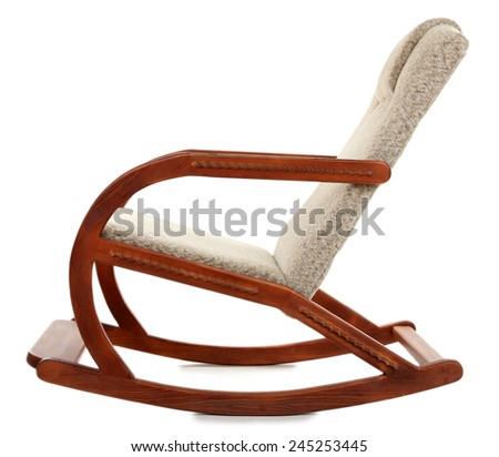Modern rocking-chair isolated on white - stock photo