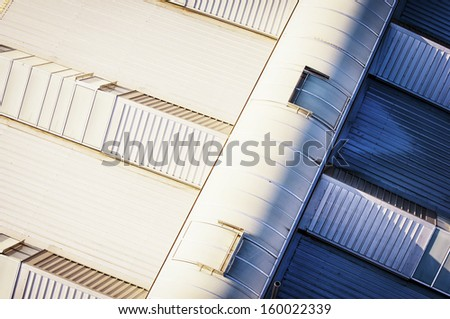 modern roof - made out of a hot air balloon - new factory - stock photo
