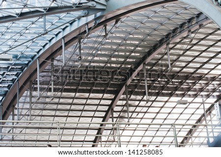 modern roof structure, berlin central station, hauptbahnhof - stock photo