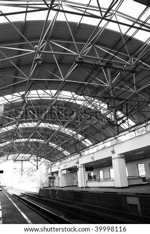 modern roof structure, shanghai subway station