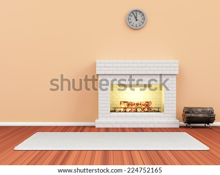 Modern Room 3D Interior with Burning Fireplace - stock photo