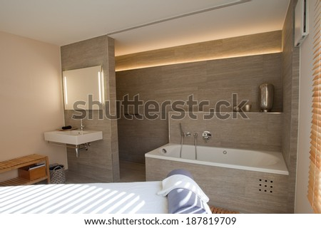 Modern  room for massage and contemplation. - stock photo
