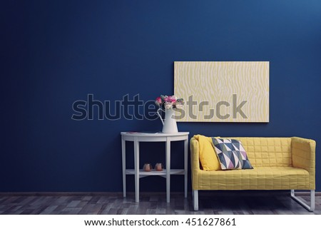 Modern room interior with stylish furniture and fresh roses on table - stock photo