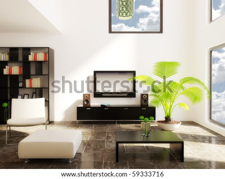modern room with beige furniture and white wall - stock photo