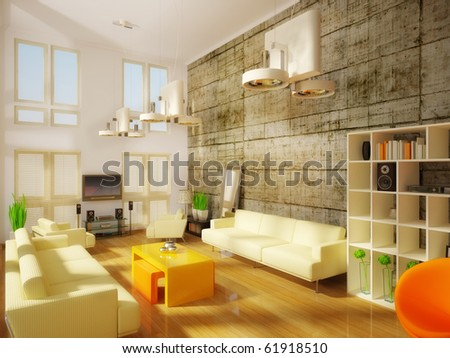 modern room with concrete  wall - stock photo