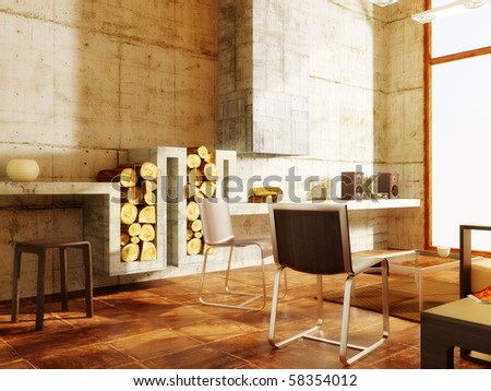 modern room with concrete wall and fireplace - stock photo