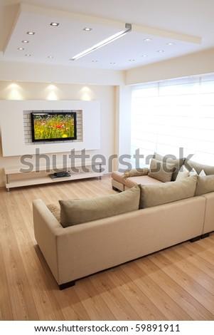 Modern room with plasma tv - stock photo