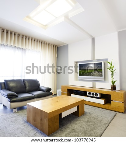 Modern room with plasma tv   This image was taken from two different shots - stock photo